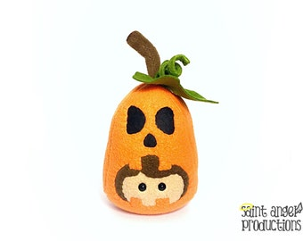 Pumpkin Face Plushie, Orange Stuffed Jack O Lantern Person Plush, Plushween, READY to SHIP