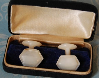 Antique Carved Mother of Pearl Cuff Links with Old Velvet Lined Box 1910s MOP Cufflinks