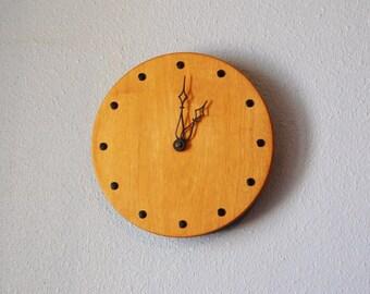 Vintage Mid Century Wall Clock Teak 1950s Danish Modern Home Decor