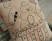 Decorative Bee Keeper Pillow, Hand Stitched Pillow, Bee Hive, Bees, Spring Decor