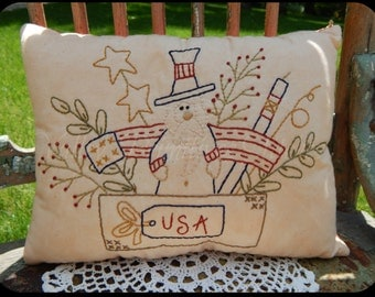Hand Stitched Decorative Pillow, Uncle Sam, Americana, USA, Patriotic, Red White Blue