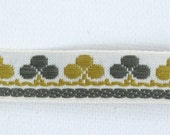 """Clubs & Clover Jacquard Ribbon Vintage Sewing Trim,  Tyrolean Trim 5/8"""" wide - 3 yards - Millinery, Haberdashery, Olive and Gold Trim"""