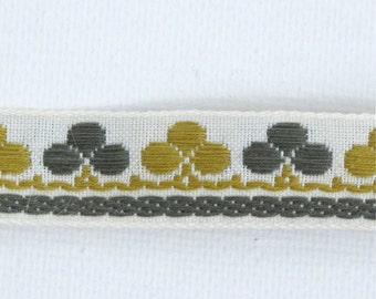 "Clubs & Clover Jacquard Ribbon Vintage Sewing Trim,  Tyrolean Trim 5/8"" wide - 3 yards - Millinery, Haberdashery, Olive and Gold Trim"