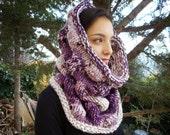 Plum Bubbles cowl circle scarf hood chunky women cowl merino wool hand knitted purple neck cozy yarn gift bulky warm winter lavender rose