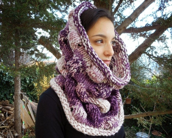 Plum Bubbles cowl circle scarf hood chunky women cowl merino wool hand knitted purple neck cozy yarn gift bulky warm winter lavender rose