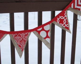 Christmas Bunting Red Burlap Banner Photo Prop