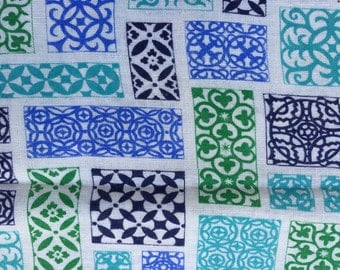 Vintage Feedsack Fabric Abstract Blue Green & Aqua Block Cotton Print