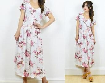 90s floral dress, floral day dress, boho floral dress, summer dress, hippie floral dress, tea dress, floral dress, vintage floral dress