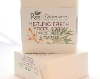 Healing Earth Facial Soap with double distilled witch hazel