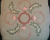 Oak & Acorn Pillow Embroidery Kit Craftsman Mission Style