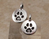 Small Paw Charm, Antique Silver, TierraCast 2-Pc. TS121