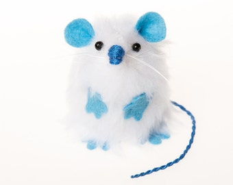 Yeti Mouse - Collectable Abominable Snowman art rat artists mice felt mouse cute soft sculpture toy stuffed plush doll fluffy white hamster