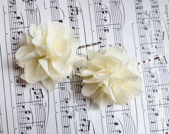 Ivory Chiffon Wedding Hair Flowers Bridal hair piece Ivory flower hair pins includes 2 hair pins- CLIPS