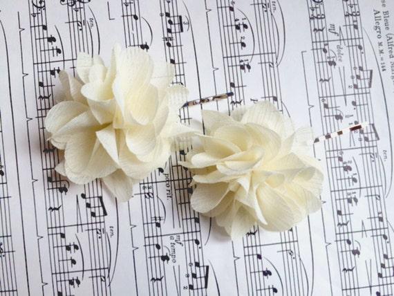 Wedding Hair Flowers Bridal hair piece Ivory flower hair pins includes 2 hair pins- CLIPS