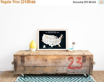 25% OFF SALE USA Adventure Map Wall Art Print, Personalized Travel Map, 18x12, Black, Kid's Usa Map, Gender Neutral, Customized,United Sta