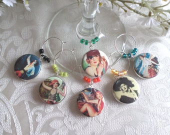 Pirate Ladies Wine & Drink Glass Charms - Set of 6