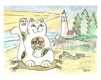 A Good Luck Guiding Light - Choose from ACEO Print, Note Cards, or Art Print