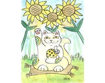 The Lucky Ladybug: Ms. Sunflower - Choose from ACEO Print, Note Cards, or Art Print