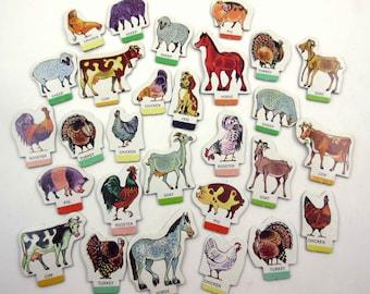 Vintage 1960s Old MacDonald's Farm Animal Game Pieces Set of 28