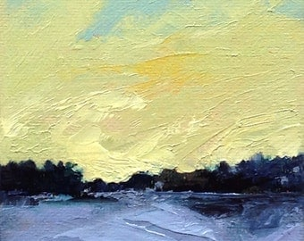 "CITRINE EVE, oil painting landscape original oil, 100% charity donation, original painting  4""x4"" canvas panel, sky, clouds"