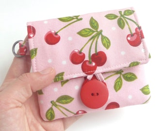 cherry wallet. pink teen girl coin purse card organizer. cute ladies travel cloth material small slim wallet. vegan wristlet