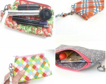 plaid zipper pouch. orange navy wristlet. small make up cosmetic bag purse insert. cute teen girl clutch. gift idea