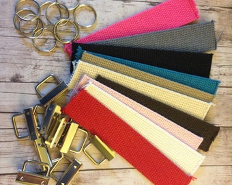 Mini Key Fob Kit- Set of 10- Includes the hardware and webbing to make 10 mini key fobs- Great for birthday gifts and stocking stuffers