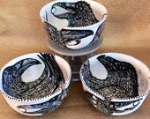 Jumbo Raven Yarn Bowl with 3 Holes, Spiral Yarn Channel & Ravens Inside and Outside