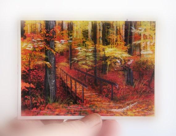 On Sale, Autumn footbridge, Aceo, Original, Fall decor, trail, trees, woodland, miniature art, autumn, Atc