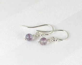 Very Tiny Lavender Fluorite and Sterling Silver Earrings