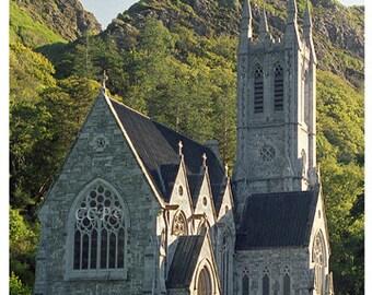 Kylemore Church, Irish Church, Church Photograph Gothic Windows, Ireland Architecture, Connemara Print, County Galway, Wall Decor