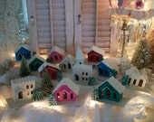 vintage putz village, 12 cottages & churches. sleepy little town, christmas winter scene, japan, complete, bonus: 2 japan bottle brush trees