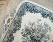 antique mason's ascot ironstone platter, black & aged white transfer ware pattern, square handled tray, beautiful timeworn patina of age