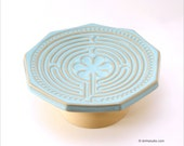 Chartres Finger Labyrinth Petite Sculptural Bowl in Powder Blue and Gold