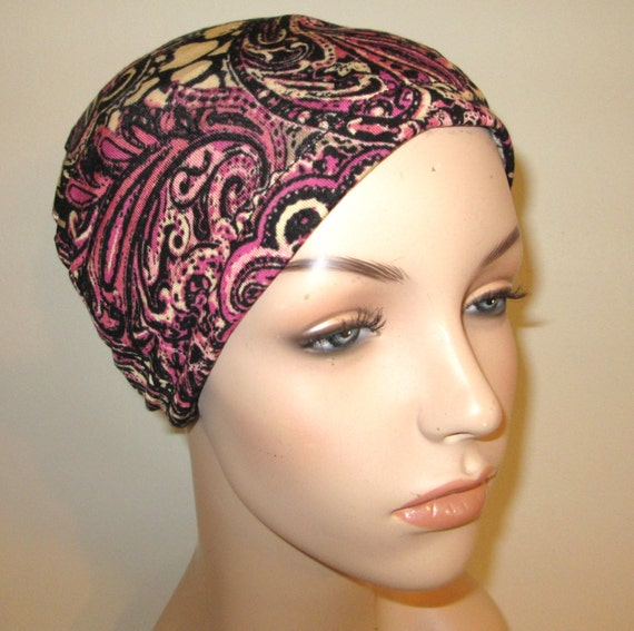Chemo Hat Lycra  Black Rose Paisley Play Sleep Cap, Cancer Hat, Alopecia Kids and Adult Chemo Hat