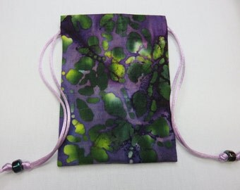 """Silk Lined Tarot Card Pouch, Tarot Card Bag, Handmade 5"""" x 7 1/4"""" tall"""