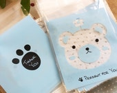 Plastic bags - 20pcs of baby blue bear head with flower (Package treasury)