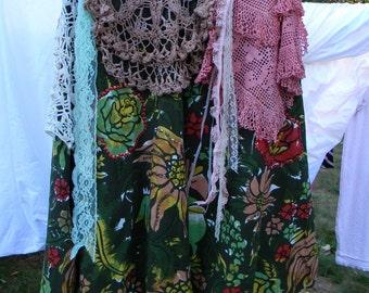 Vintage Fabric Embellished Gypsy Skirt Size 14