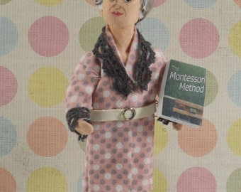 Maria Montessori Doll Miniature Art Collectible Childhood Education