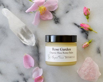 Rose Shea Butter Organic Body Butter Balm made with Pure and Natural Essential Oils and Absolutes - Rich Buttery Moisturizer for Dry Skin