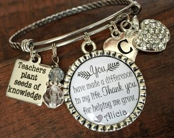 TEACHER jewelry, Teacher appreciation,Teachers plant seeds of knowledge, BANGLE bracelet, INITIAL jewelry, Thanks for helping me grow
