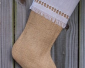 Burlap Stockings Tailored Plain Country French Farmhouse Chic Personalized  Guys Men Boys 265
