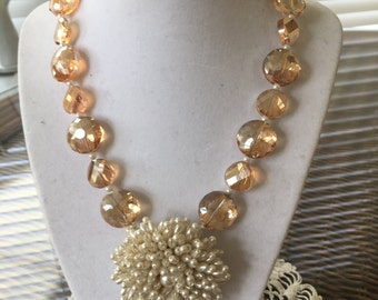 Crystal Peach Color Glass Beaded Necklace with Vintage Pearl Brooch in the Center