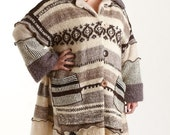ON SALE Beige and Tan Striped  Petunia Sweater Coat, Size XL (14 to 16)