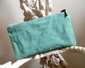 Jade tent canvas utility pouch, pencil case, sea green - vtg camper canvas, French ticking  - eco vintage fabrics