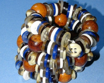 200+ Vintage re-purposed button wrist wrap snake bracelet in blues and tans
