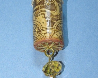 Repurposed wine bottle cork Christmas tree ornament with bottle opener charm