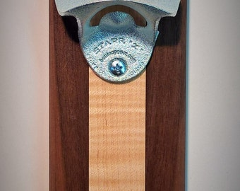 Wall Mounted Bottle Opener with Magnetic Cap Catcher in Reclaimed Walnut and Curly Maple