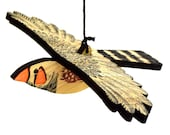 Zebra Finch Mobile, Hand Printed Wooden Lino Printed Hanging Bird, Finch, Australian Bird