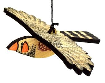 Zebra Finch Mobile, Hand Printed Bamboo Lino Printed Hanging Bird, Finch, Australian Bird